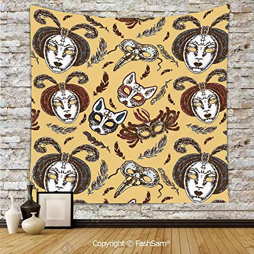 Tapestry Wall Hanging Venetian Style Paper Mache Face Mask with Feathers Dance Event Theme Tapestries Dorm Living Room -