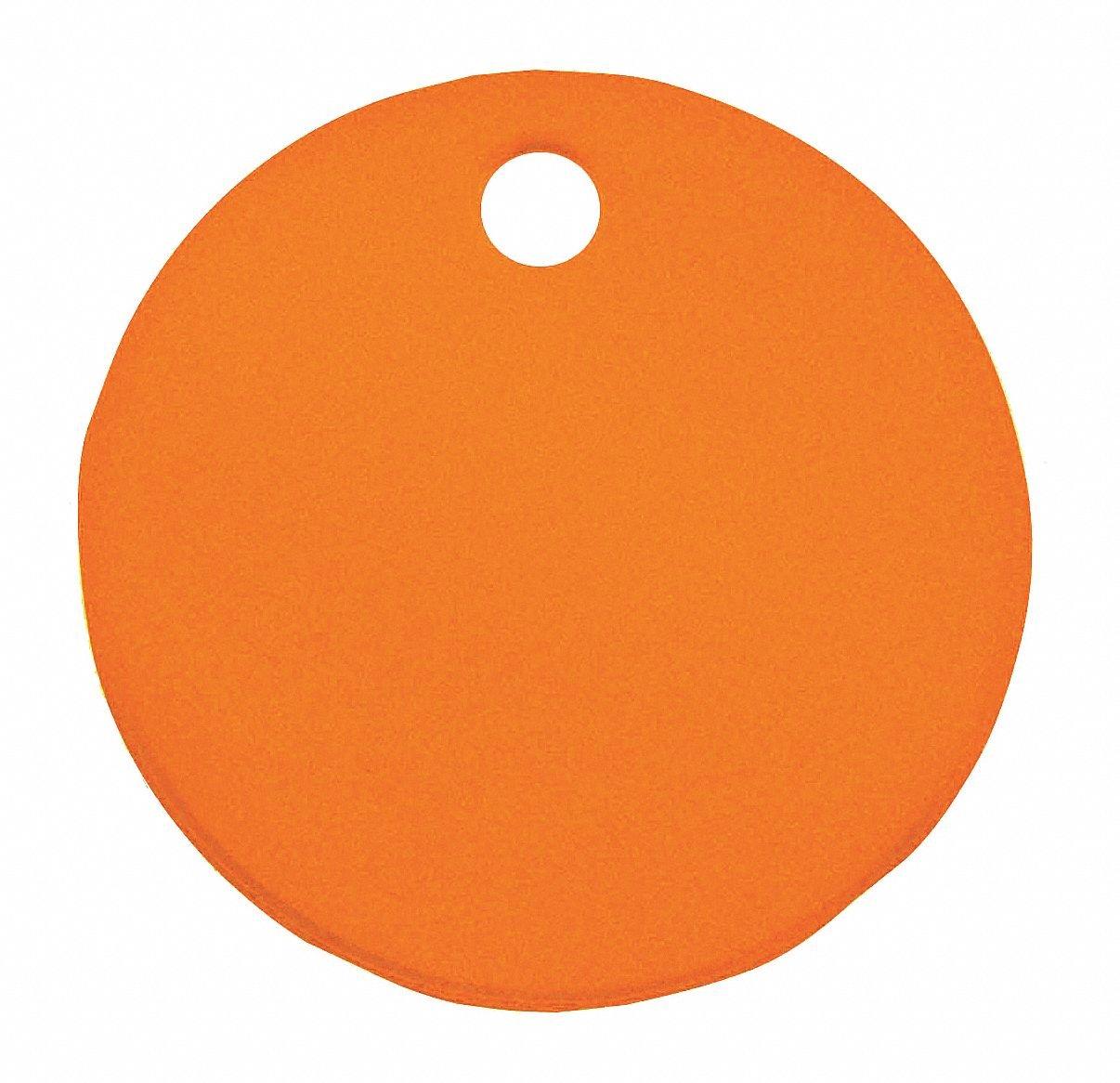Orange Blank Tag, Aluminum, Round, 1'' Height, 5 PK