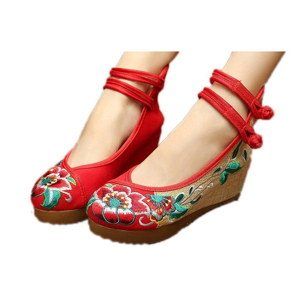 Fanwer Scarpe Mary Jane Tacco Medio Punta Rotonda Ricamo Scarpe Casual Tela Panno camminando per Le Donne, Scarpe Zeppa Moda, Scarpe Altezza Aumentata  Rosso