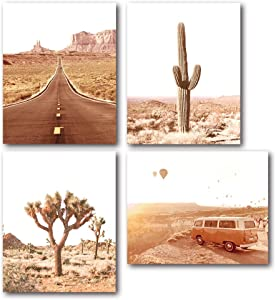 XUWELL Desert Cactus Classic Van Route 66 Road Hot Air Balloon Wall Art Prints, American West Travel Photos Poster for Home Bedroom Decor, 8 x 10 Inch Set of 4 Prints, Unframed