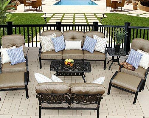Theworldofpatio Elizabeth Cast Aluminum Powder Coated 9pc Outdoor Patio Sofa Deep Seating Chat Set - Antique Bronze