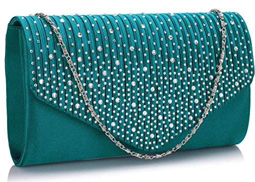 Long Evening 1 Handbag Studs Clutch Teal With Diamante Ladies Envelope Design Chain Purse style Women New gIcq4wC