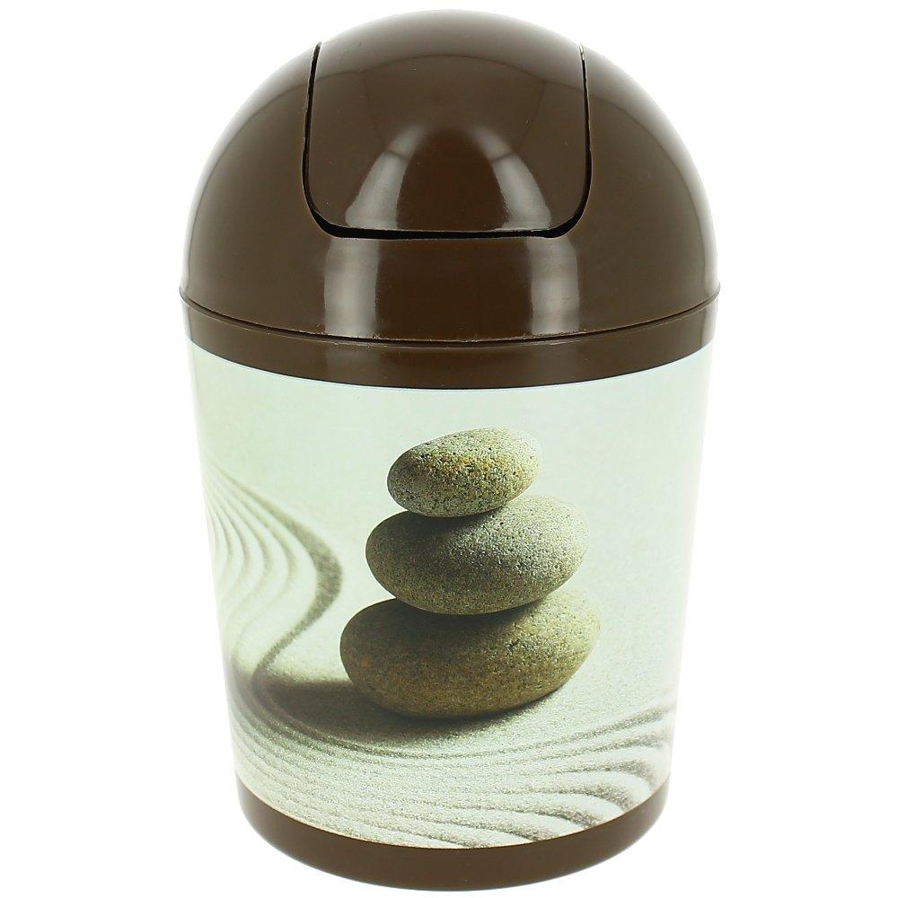 Promobo  poubelle corbeille zen salle de bain galets désert sable ...
