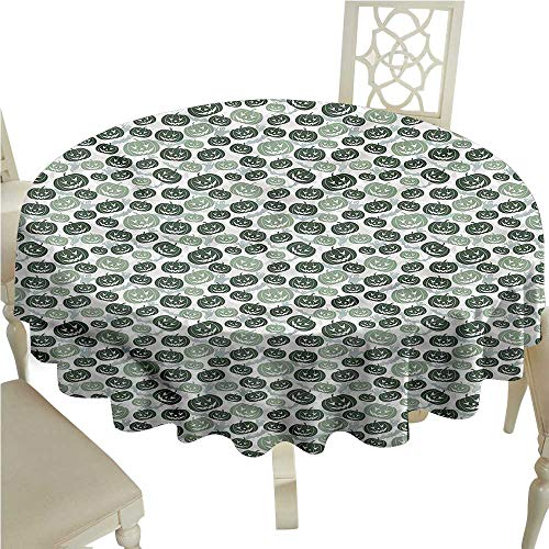 SKDSArts Round Tablecloth Vinyl Fitted Pumpkin,Bats and Ghost Silhouettes,Table Cover