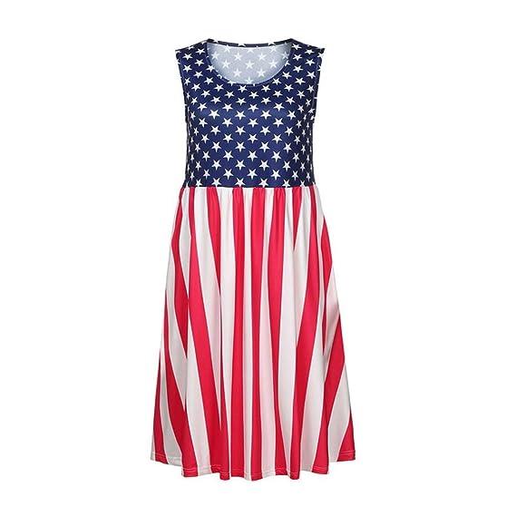 Sleeveless Dress, kaifongfu Women Flag Print Round Neck Casual Beach Dress Ladies Sleeveless Dress at Amazon Womens Clothing store: