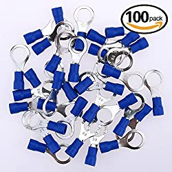 Glarks 100pcs 16-14 Gauge M8 Ring Electrical Insulated Quick Splice Crimp Terminals Connectors