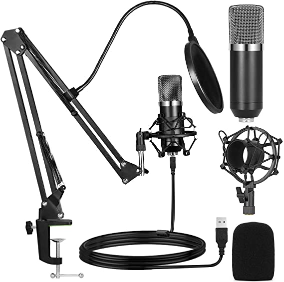 Ankuka Studio Condenser USB Microphone Computer PC Microphone Kit 192kHz/24 bit with Adjustable Scissor Arm Stand Shock Mount for Instruments Voice Overs Recording Podcasting YouTube Karaoke Gaming