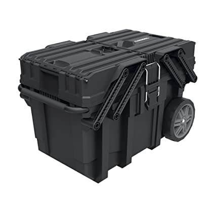 Husky Tool Cart >> Husky 25 In Great Design Heavy Duty Cantilever Mobile Job Tool Storage Organizer Box With Flip Out Trays Handle And Stronger Wheels