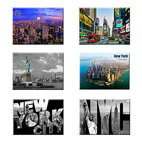 UNIVERSAL SOUVENIR 6 Set New York NYC Souvenir Photo Picture Fridge Magnets 2 x 3 inch - Pack of 6 (Refrigerator Magnet New York)
