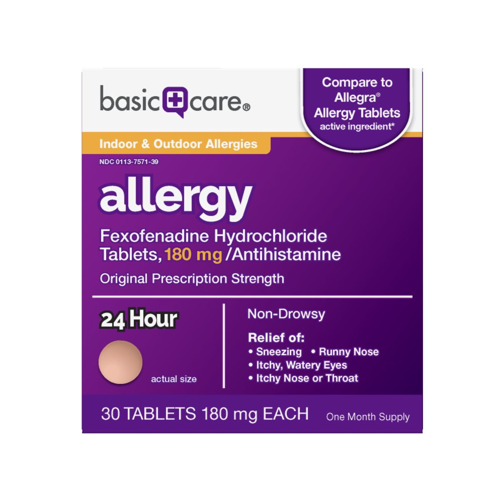 Basic Care Allergy, Fexofenadine Hydrochloride Tablets, 180 mg, 30 Count by Basic Care
