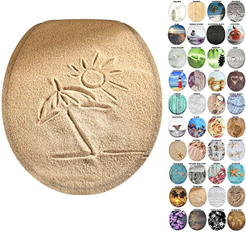 Sanilo Round Toilet Seat, Wide Choice of Slow Close Toilet Seats, Molded Wood, Strong Hinges (Sunshine) (Jewel Shell Toilet Seat)