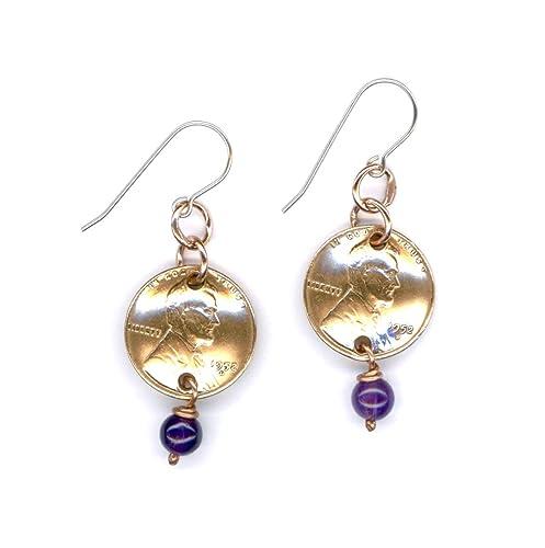 Penny Earrings 65th Birthday Amethyst February Birthstone Beads 1952 Women Gifts Ideas