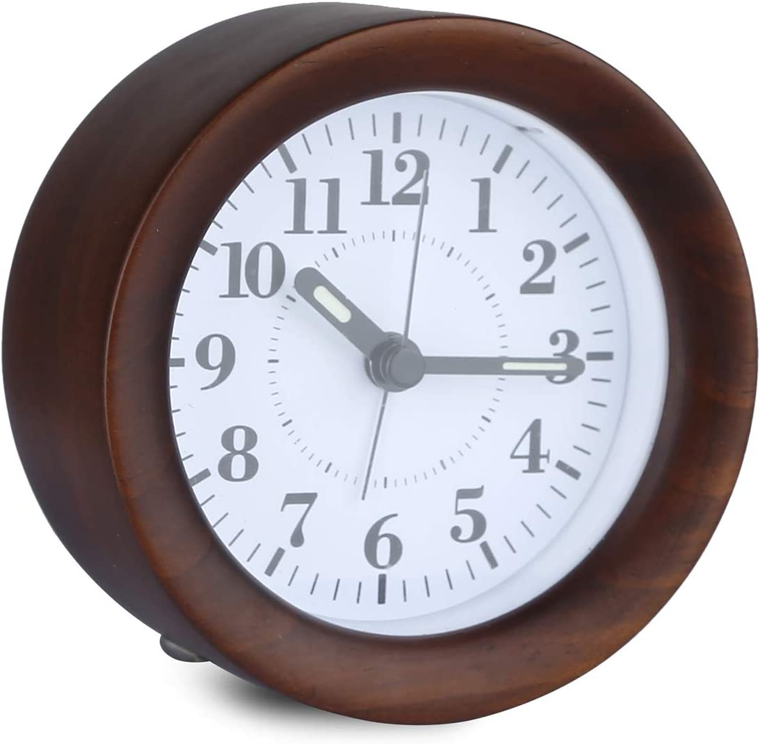 Glovion Genuine Wooden Silent Bedside Basic Clock with Snooze and Light Functions, Gradually Louder Beep Sounds, Battery Operated
