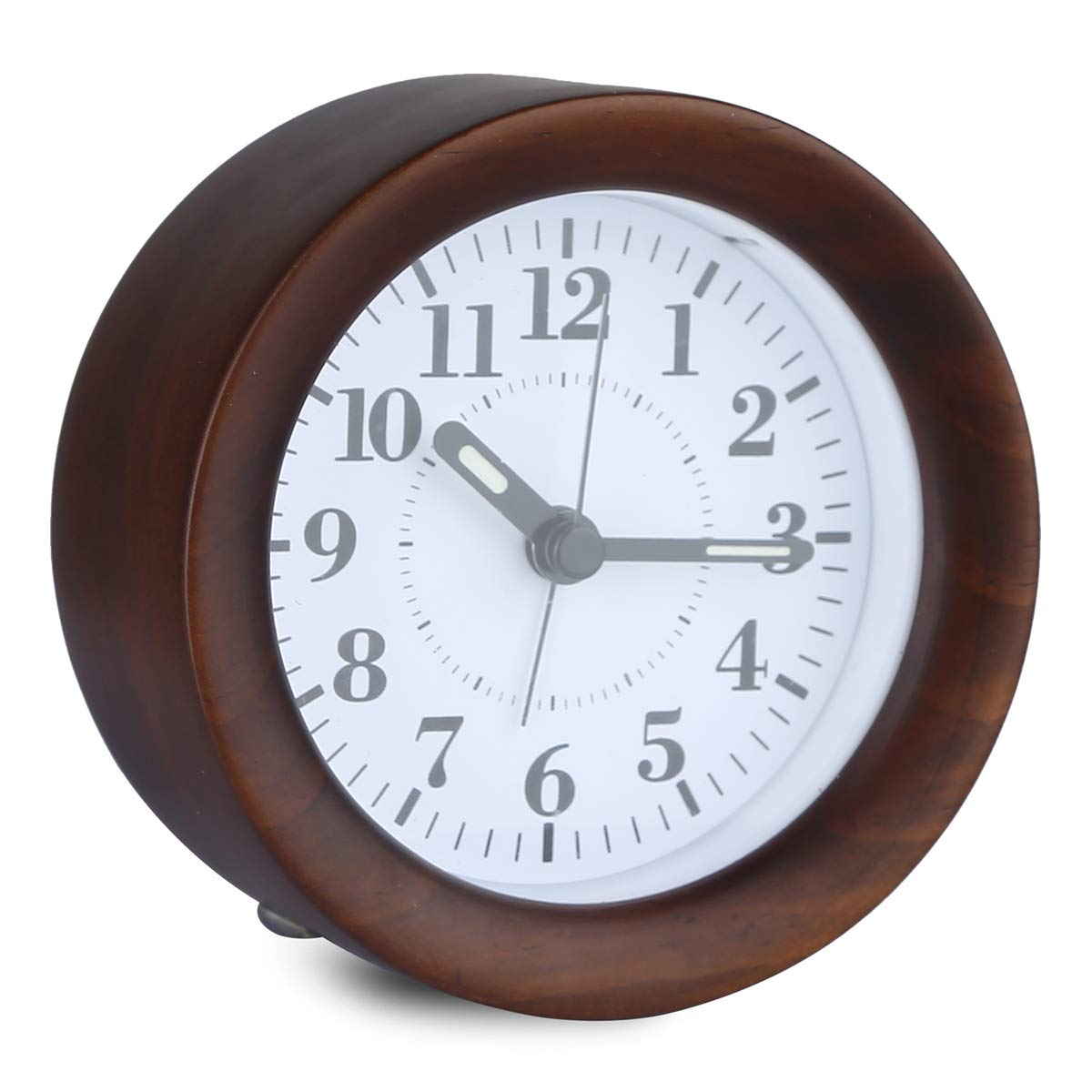 Glovion Genuine Wooden Silent Bedside Basic Clock with Snooze and Light Functions Battery Operated GCZ00017 Gradually Louder Beep Sounds
