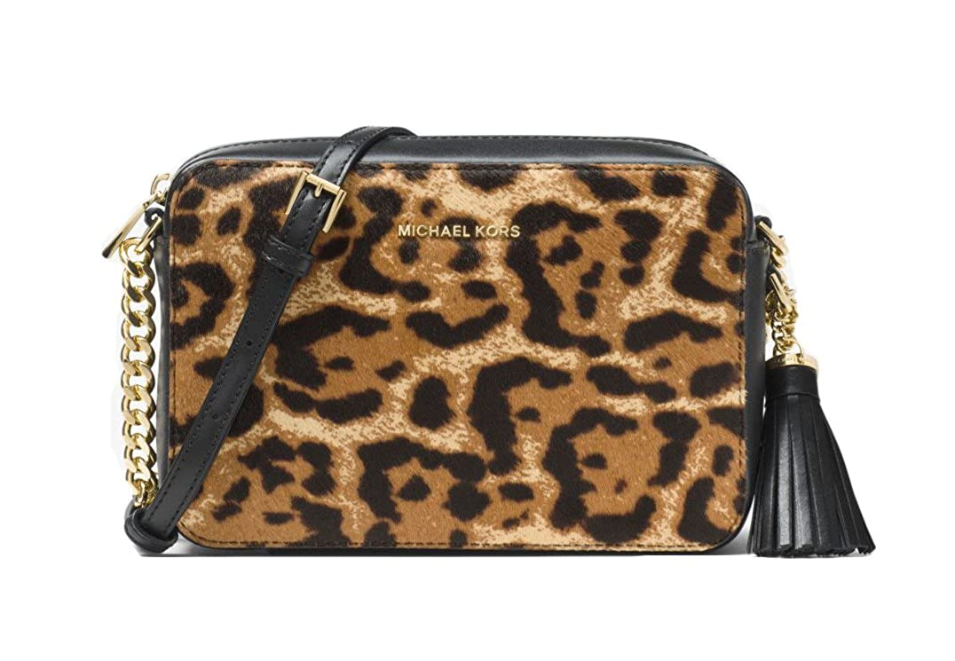94f9b4ff359f MICHAEL Michael Kors Ginny Leopard Calf Hair Crossbody - Butterscotch:  Handbags: Amazon.com