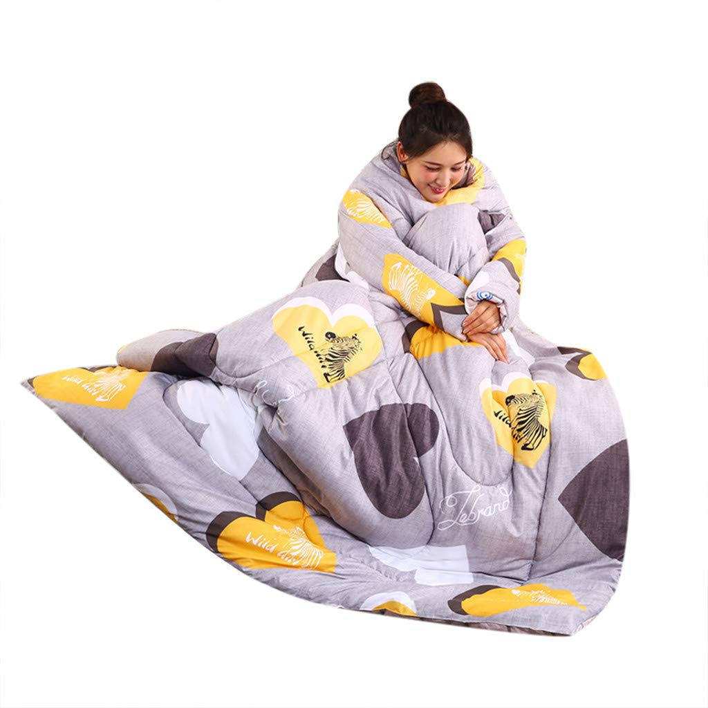 Hoshell_Home Removable Lazy Quilt with Sleeves Winter Warm Thickened Quilt Blanket 150x200cm (C1)