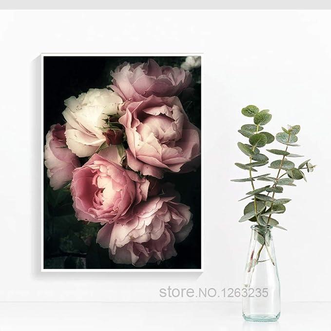 tzxdbh Rose Flowers Nordic Poster Romantic Canvas Painting Quadro ...