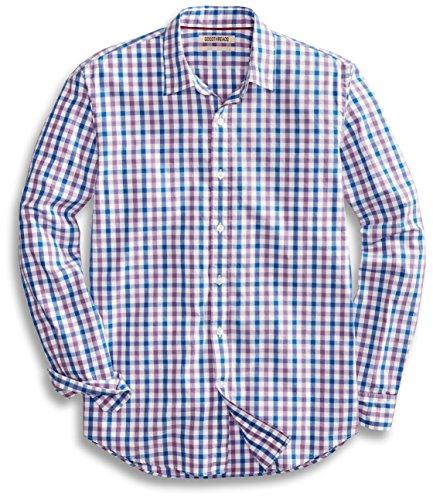 Goodthreads Men's Standard-Fit Long-Sleeve Checked Shirt, Purple/Blue, Large