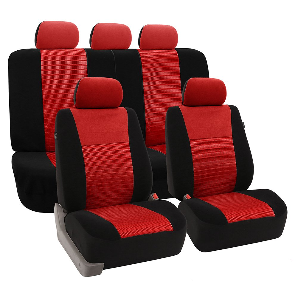 FH Group Universal Fit Full Set Trendy Elegance Car Seat Cover, (Black) (FH-FB060115, Airbag compatible and Split Bench, Fit Most Car, Truck, Suv, or Van) FB060BLACK115