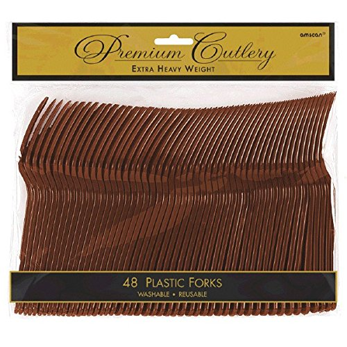 - Premium Heavy Weight Plastic Forks | Chocolate Brown | Pack of 48 | Party Supply