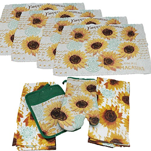 8 pc Sunflower Kitchen Towel Set - Includes Sunflower Pot Holder, 2 Sunflower Kitchen Towels, Sunflower Oven Mitt and 4 Sunflower Placemat - Comes in an Organza Bag so It's Ready for Giving! ()
