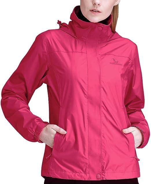 CAMEL CROWN Womens Waterproof Rain Jacket Lightweight Hooded Windbreaker  Windproof Rain Coat Shell for Outdoor Hiking de6ef6ade2
