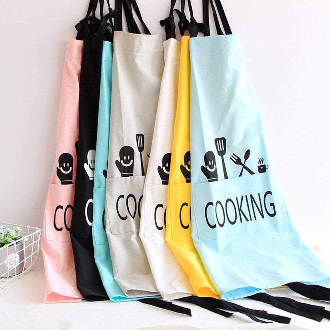JameStyle26 Tablier en Coton et Lin pour Femme Tablier de Cuisine Tablier de Cuisine avec Poche /à p/âtisserie Cooking Blau 78 x 60 cm