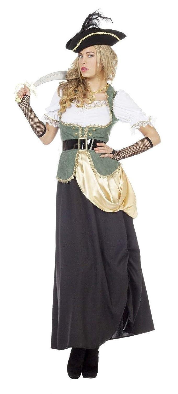 Narrenkiste W4671-52-A grau-grün Damen Piratin-Seeräuberin Freubeuter Kostüm Gr.52