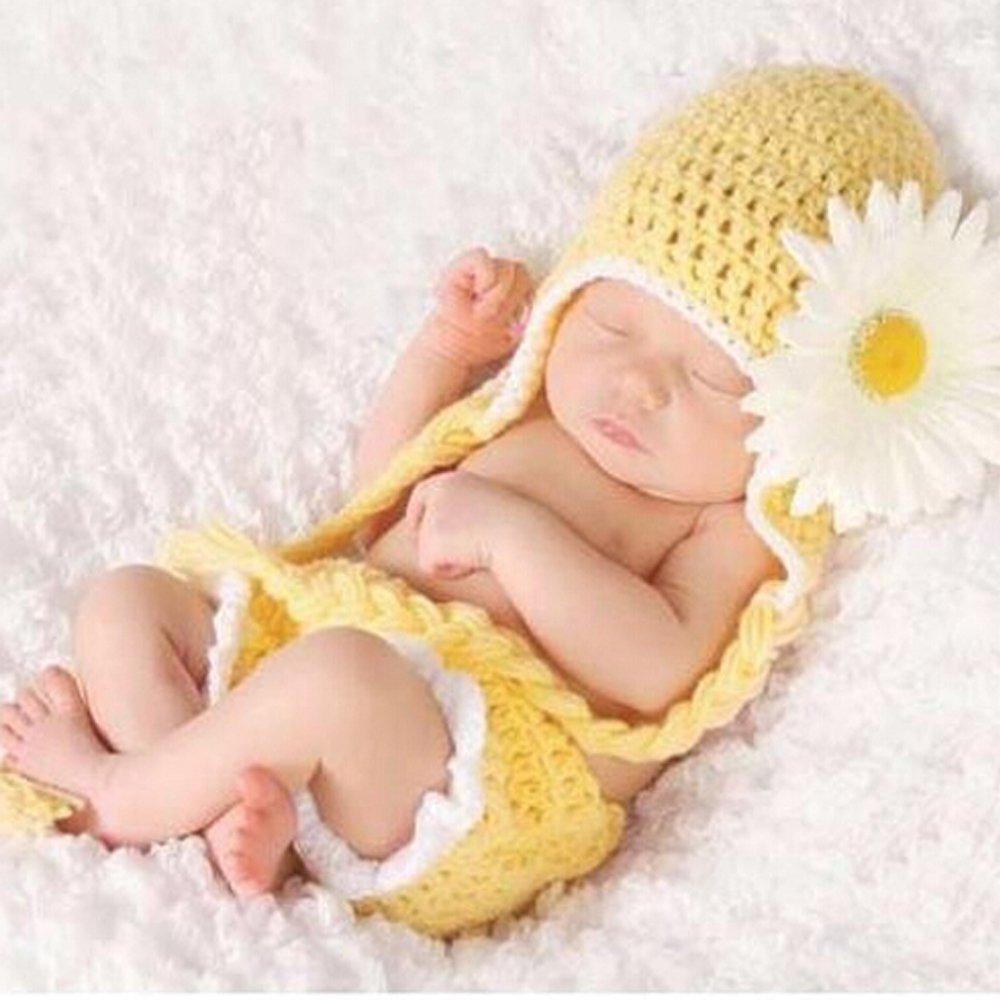 Baby Girls Newborn Sunflower Knit Crochet Clothes Beanie Hat Outfit Photo Props coffled iekB680029mayeight