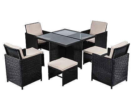 Amazon.com: Juego de muebles de patio, 9 piezas, juego de ...