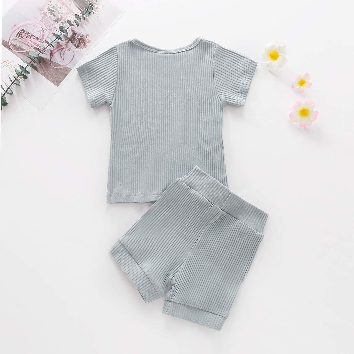 YOUNGER STAR Toddler Baby Boys Girls Cotton Line Clothes Tee and Pants 2Pcs Pajama Set Solid Color Outfit