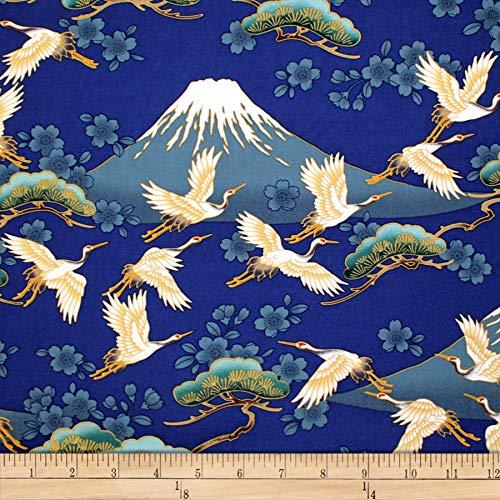 Trans-Pacific Textiles Oriental Tsuru Crane Mt Fuji Fabric, Navy, Fabric By The Yard