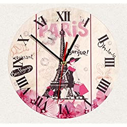 SofiClock Wall Wood Clock Paris France Eiffel tower 12 Best Gift for Decor Home, Office, Kitchen (Type B)