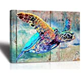 Sea Turtle Bathroom Wall Decor Canvas Prints Life Teal Watercolor Painting Beach Theme Artwork 1 Panels Framed for…