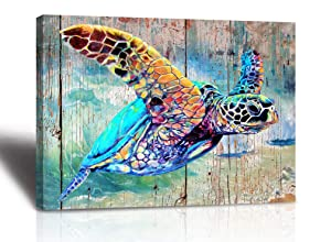 Sea Turtle Bathroom Wall Decor Canvas Prints Life Teal Watercolor Painting Beach Theme Artwork 1 Panels Framed for Bedroom Living Room Bedroom Home Office Decorations 12x16x1 Turtle wall art Baby ro