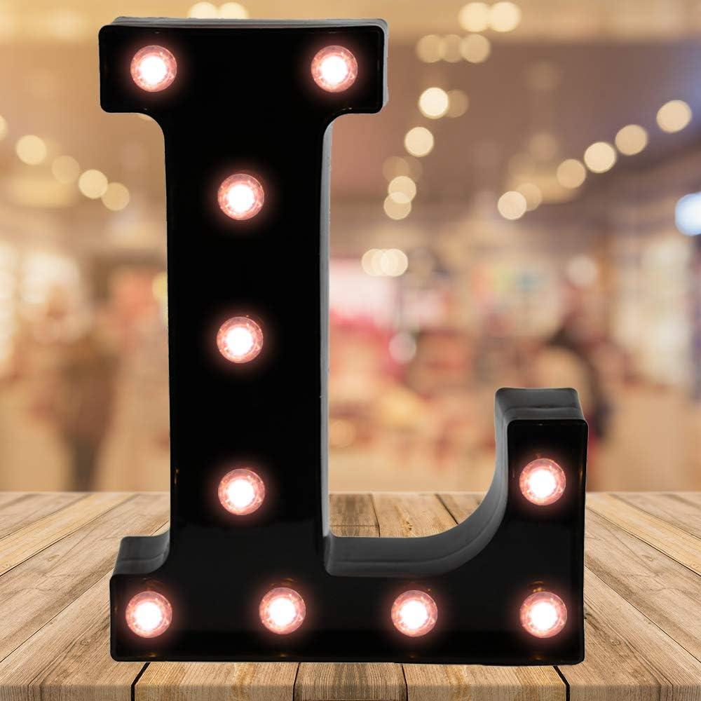 Light up Letters LED Letter Black Alphabet Letter Night Lights for Home Bar Festival Birthday Party Wedding Decorative (Black Letter L)