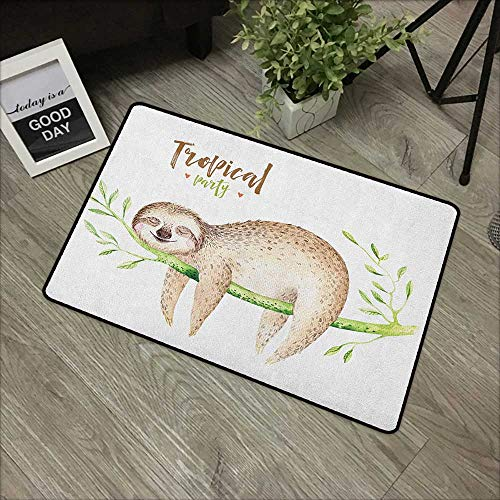 Pool anti-slip door mat W35 x L59 INCH Sloth,Young Animal Sleeping on Palm Branch Happy Dreams Wildlife Nature Watercolor, Pale Brown Green Easy to clean, no deformation, no fading Non-slip Door Mat C]()