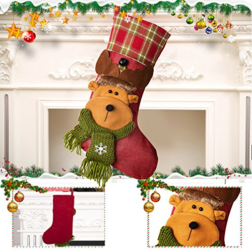 NONZERS Lovely Christmas Stockings-Classic Christmas Stockings,3 Pcs of Xmas Gift Candy Bag,Santa Snowman Reindeer Toys Stockings,3D Applique Style Christmas Stockings Decoration for Kids (17.7Lx7.5W) by NONZERS (Image #4)