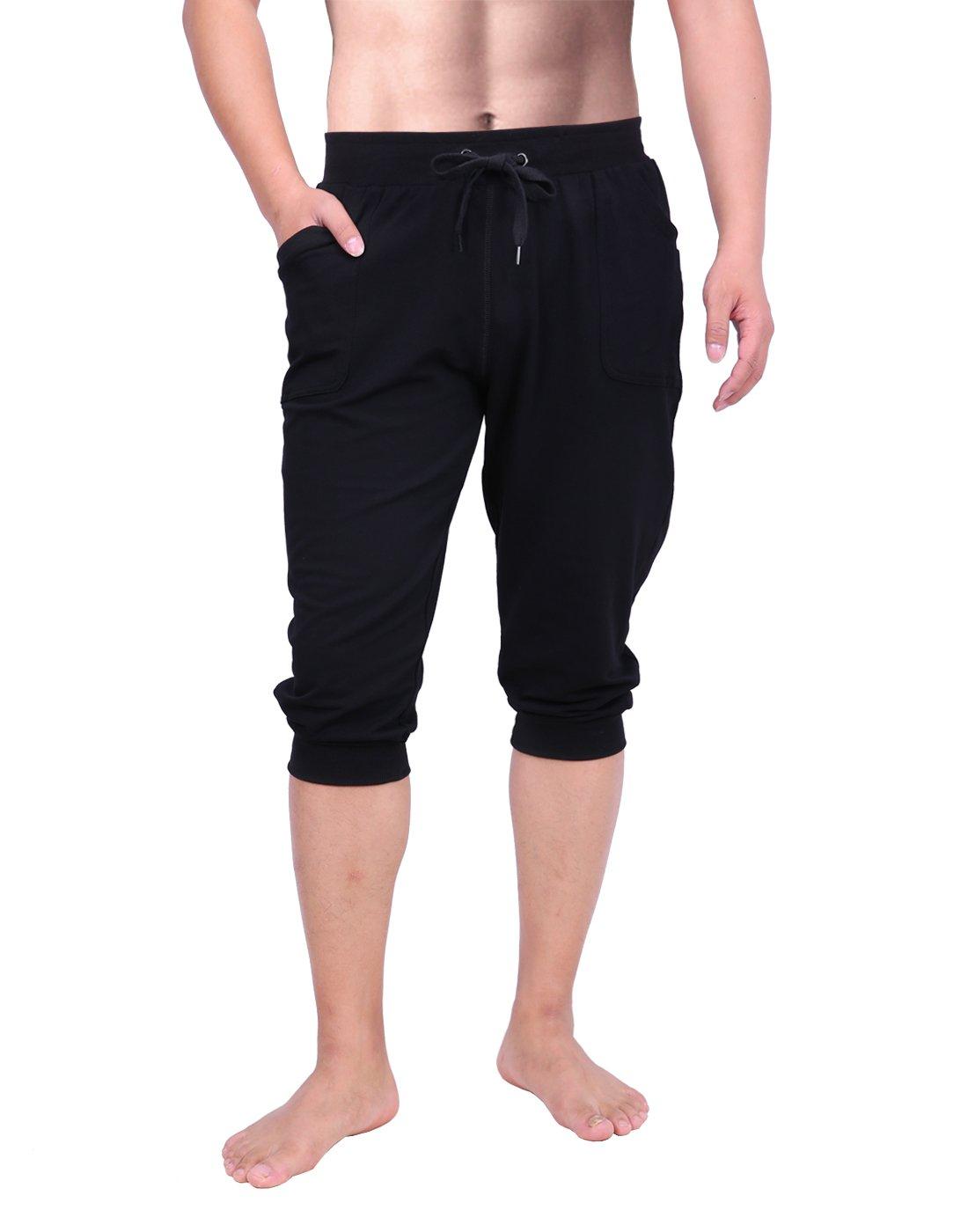 HDE Mens Workout Jogger Casual Waistband Sport Training Cuffed Yoga Capri Pant (Black, Small)