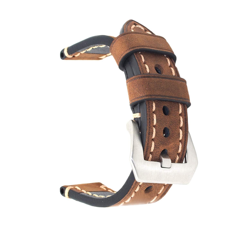 20mm 22mm 24mm Genuine Leather Watch Band Vintage Strap Black Brown