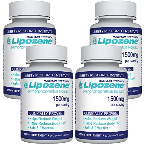 Lipozene Diet Pills - Weight Loss Supplement - Appetite Suppressant and Control - 4 Bottles 120 Capsules - No Stimulants No Jitters
