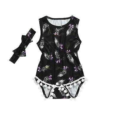 df4c7e77f81 2Pcs Baby Girls Romper Floral Tassel Sleeveless Bodysuit Jumpsuit +Headband  Clothes Set Onesies (6M