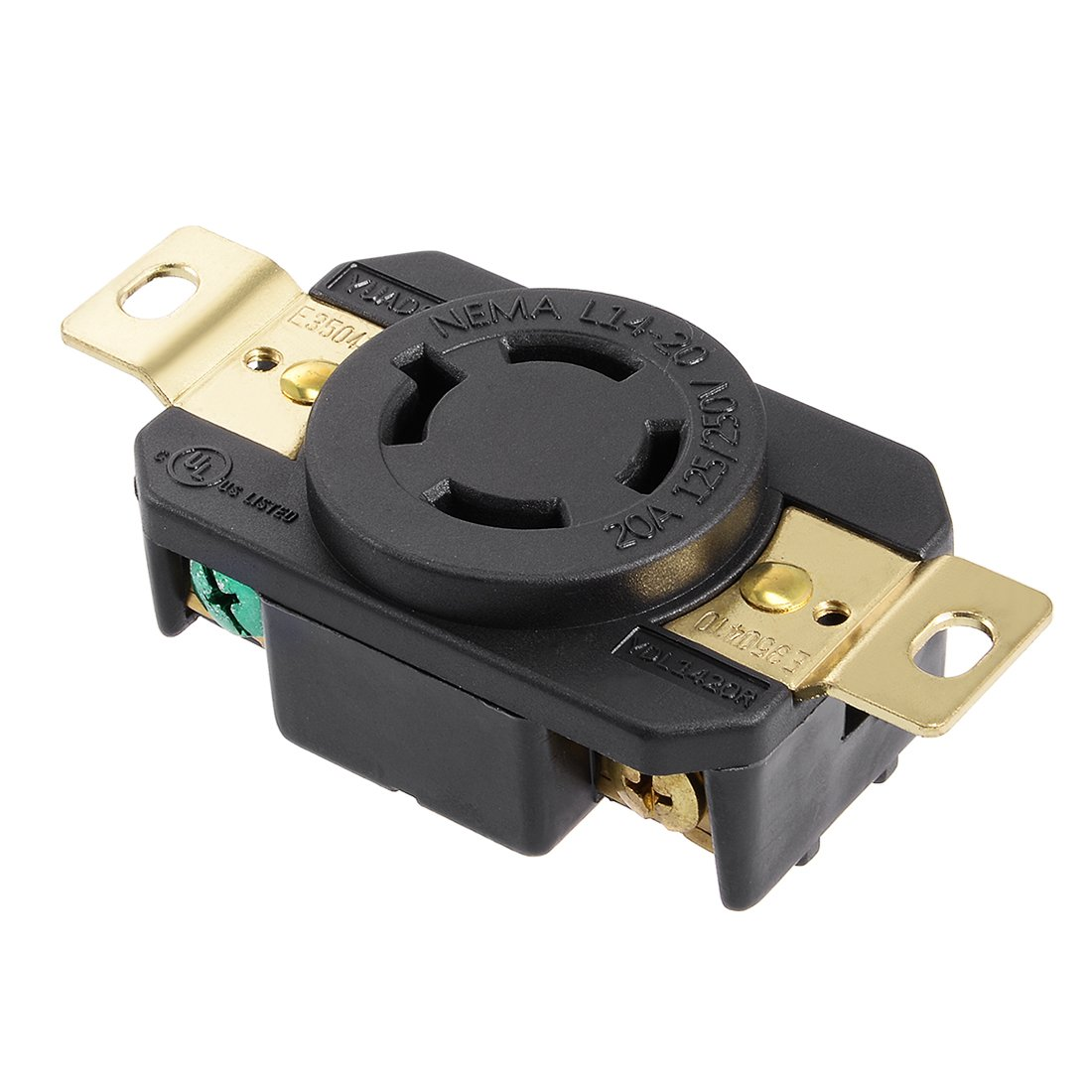 uxcell UL Listed, Locking Receptacle, 20A, AC 125/250V, NEMA L14-20R, 3P, 4W, Industrial Grade, Grouding, for Generator Power Cable, US Plug, YUADON Authorized