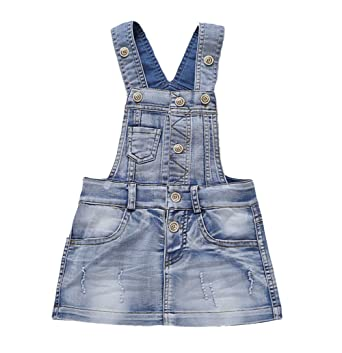 cb4be366091 Amazon.com  Kidscool Baby   Little Girls Cotton Denim Adjustable ...