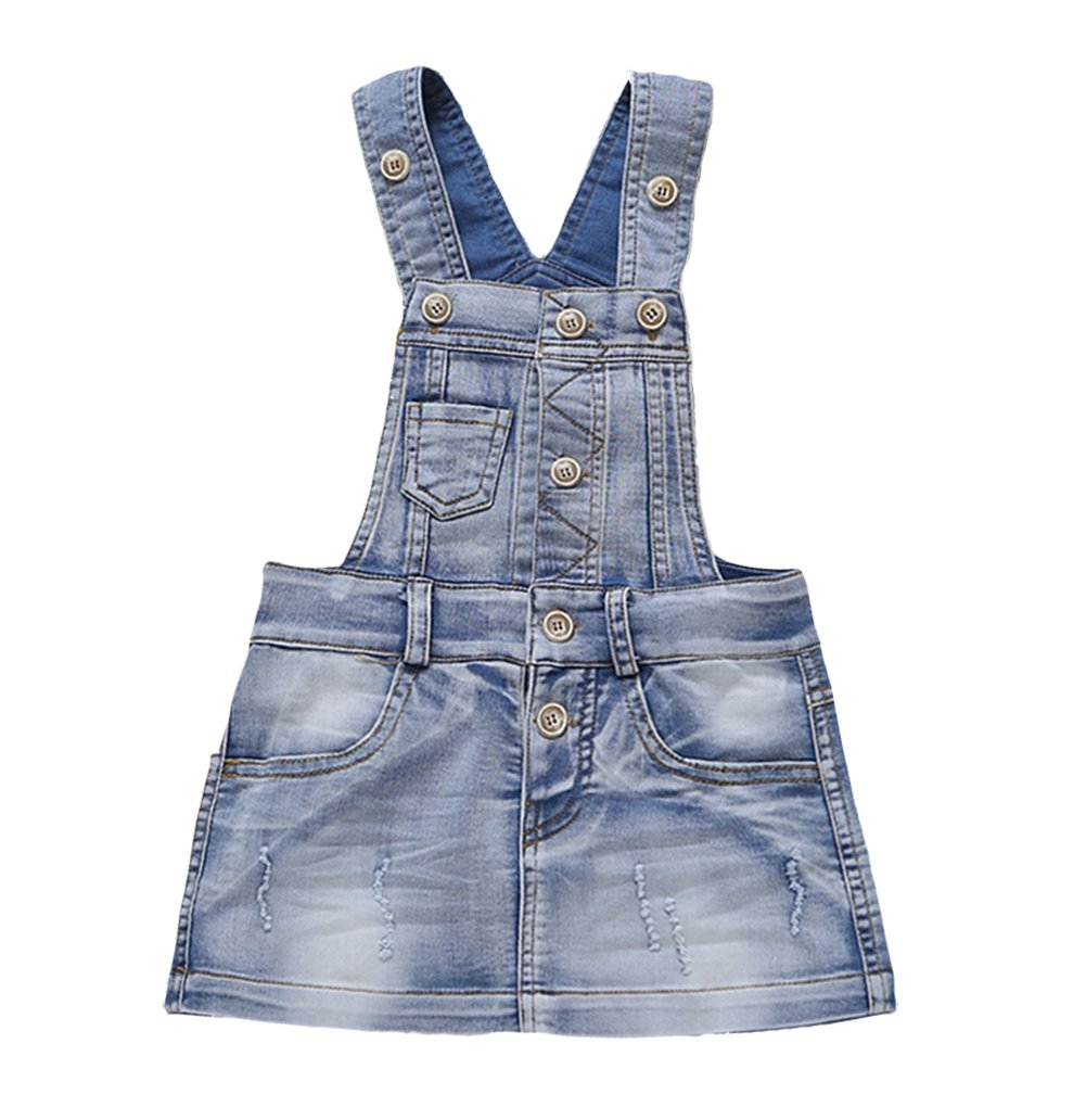 Kidscool Baby & Little Girls Cotton Denim Adjustable Overalls Dress