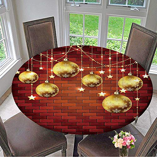 Mikihome Round Table Tablecloth Holiday Background with Golden Christmas Balls,Beads and Stars on a Brick Wall. for Wedding Restaurant Party 40