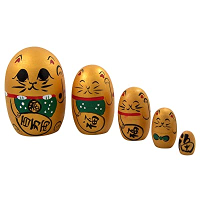 Gold Lucky Cat Stacking Nesting Doll, 4 Inch: Toys & Games