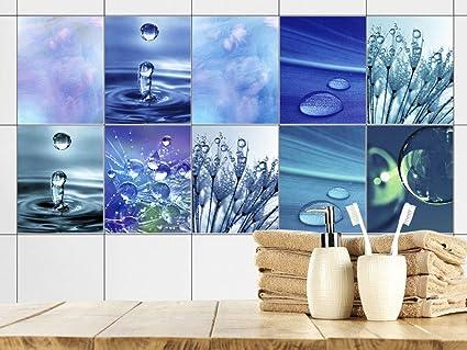Graz Design Ahoi Tegelsticker Badkamer Blauw Waterdruppels Tegelsticker Tegelstickers Om Op Te Plakken Plakfolie Voor Badkamertegels 20x25cm Set Van 10 Stuks Amazon Nl
