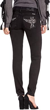 Miss Me Womens Totem Pole Angel Low Rise Black Skinny Jeans L3229S w/Extended Sizes