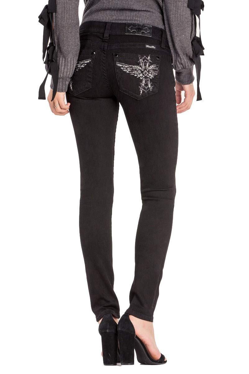 Miss Me Women's Totem Pole Angel Low Rise Black Skinny Jeans L3229S w/Extended Sizes (30)